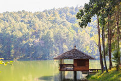 Serene lodging house at Pang Ung Stock Photography