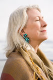 Serene looking gray haired woman Royalty Free Stock Image