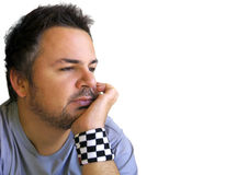 Serene Man. Thinking, with hand in his chin Royalty Free Stock Photography