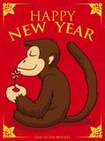 Serene Monkey Meditating in manifesto del nuovo anno, illustrazione di vettore royalty illustrazione gratis