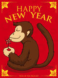 Serene Monkey Meditating in New Year Poster, Vector Illustration royalty free stock photography