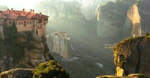 Serene morning in impressive Meteora monasteries. Central Greece Stock Photos