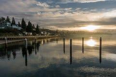 Serene Peaceful Sunset. Serene, peaceful sunset over the Puget Sound at Redondo Beach, Washington Stock Image