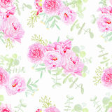Serene peonies seamless vector print Royalty Free Stock Photos