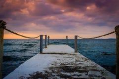 Serene Pier Sunset Environment Fotos de Stock Royalty Free