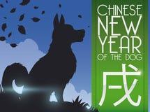 Serene Puppy pelo ano novo chinês do cão, ilustração do vetor Fotografia de Stock Royalty Free