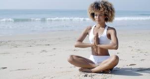 Serene Relaxed Female Yoga Instructor Immagine Stock