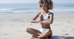 Serene Relaxed Female Yoga Instructor Royalty Free Stock Photography
