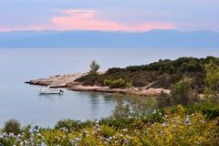 Serene seascape in Greece. Picture of a serene seascape in Greece during late afternoon Royalty Free Stock Photo