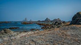 Serene Stone Rock Sea Beach arkivfoto