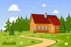 Serene summer day landscape with Chalet. Vector Illustration Royalty Free Stock Images