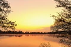 Serene Sunrise bij het Meer Stock Afbeelding