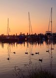 Serene sunset. Sunset on the shore of Lake Michigan at Leland, Michigan Stock Photography
