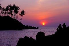 Serene sunset. A tranquil sunset at Palolem beach, Goa, India royalty free stock image