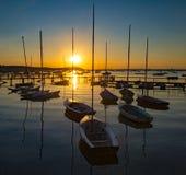Serene sunset over boats at Sandbanks, Poole, Dorset near Bourne Royalty Free Stock Photo
