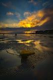 Serene sunset over boats at Sandbanks, Poole, Dorset near Bourne Stock Image