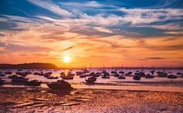 Serene sunset over boats at Sandbanks, Poole, Dorset near Bourne Royalty Free Stock Photography