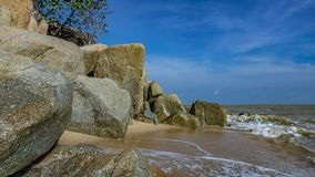 Serene Sunset Sea Stone Scenery fotos de stock royalty free
