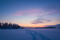 Serene sunset sky at winter Royalty Free Stock Photos