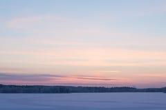 Serene sunset sky at winter Stock Photo