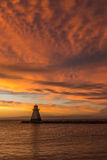 Serene Sunset sul lago Huron Fotografie Stock Libere da Diritti