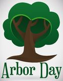 Serene Tree Shape Promoting Arbor Day, Vector Illustration. View of isolated tree with abstract heart shape and greeting text to promote Arbor Day celebration Stock Photos