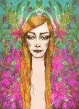 serene Vrouwelijk portret stock illustratie