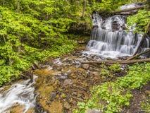 Serene Wagner Falls i Munising, Michigan Royaltyfri Foto