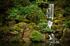 Serene Waterfall at the Portland Japanese Garden Royalty Free Stock Photo