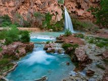 Serene waterfalls in Havasupai in the spring Royalty Free Stock Photos