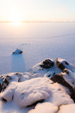 Serene winter morning view to frozen lake. See my other works in portfolio Stock Image