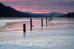 Serene winter scene at sunset. Stock Photography