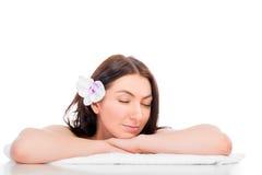 Serene woman enjoying a spa Royalty Free Stock Photos