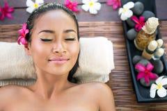 Serene woman enjoying in spa treatment Royalty Free Stock Photos