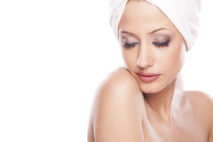 Serene woman with a towel Stock Photos