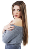 Serene woman in woollen sweater. Portrait of an elegant serene woman in woollen sweater Stock Photo