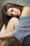 Serene woman in woollen sweater Royalty Free Stock Images