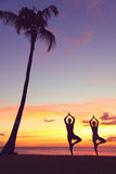 Serene yoga people training in sunset in tree pose. Meditating outdoors by beach ocean sea. Couple, men and women working out training in serene ocean landscape Royalty Free Stock Photography