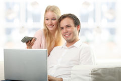 Serene young smiling couple Stock Image