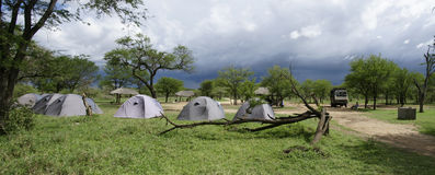 Serengeti camp site. A tented camp site in the serengeti, with heavy weather coming royalty free stock photos