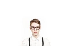 Sereniteits jonge mens in glazen Royalty-vrije Stock Foto