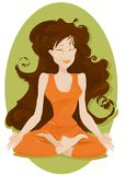 Serenity. A woman dressed in orange, with long brown hair is in a yoga position Royalty Free Stock Photos