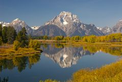 Serenity. Autumn scene of Oxbow Bend, Grand Teton National Park, Wyoming, USA stock photo