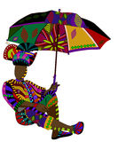 Serenity. Fashionable man in ethnic style with an umbrella in his hand Royalty Free Stock Photography