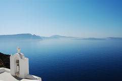 Serenity. Beautiful view in Oia (Santorini island, Greece stock photo