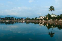 Serenity and beautiful scene of Nong Tung lake in the morning. Serenity,quiet,peaceful and beautiful scene of Nong Tung lake in the morning at Keng TungKyainge stock photos