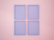 Serenity Blue blank frame on Rose Quartz color wall Royalty Free Stock Photos