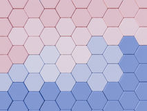 Serenity Blue and Rose Quartz  abstract 3d hexagon background Stock Image