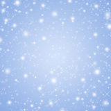 Serenity colored winter holiday background with shiny stars and snowflakes Royalty Free Stock Photo