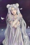 Serenity. Fantasy digital art of Moon Princess Stock Photo